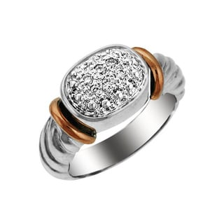 Sonia Bitton 14k Gold/Silver 1/8ct TDW Designer Pave Two-Tone Diamond Ring (H-I, SI1-SI2)