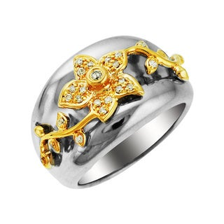 Sonia Bitton 14k Gold/Silver 1/8ct TDW Designer Two-Tone Diamond Ring (H-I, SI1-SI2)