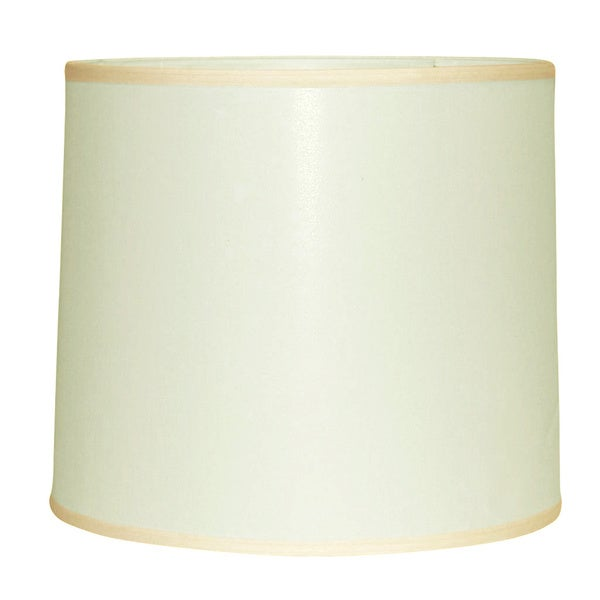 Large Off-white Linen Modified Drum Shade