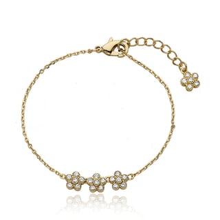 Little Miss Twin Stars 14k Goldplated Brass Children's Cubic Zirconia Flower Bracelet