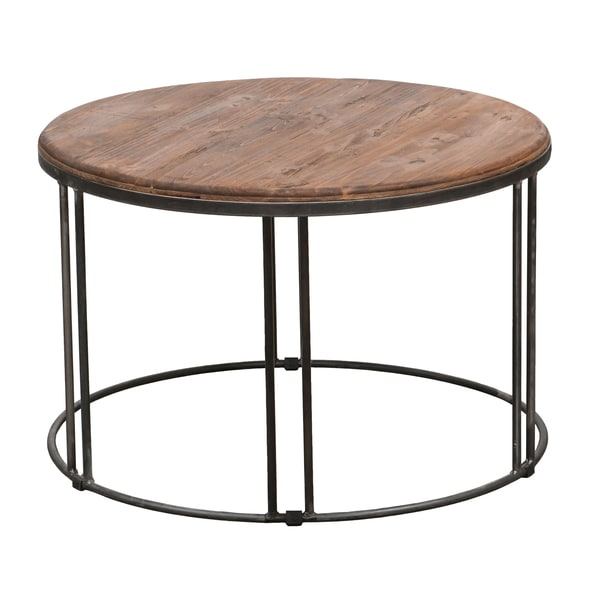 Burnham Reclaimed Wood Iron Coffee Table Overstock
