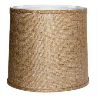 Large Brown Burlap Modified Drum Shade with Self-trim