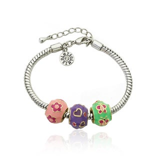 Little Miss Twin Stars Multi-colored Enamel Children's Bracelet