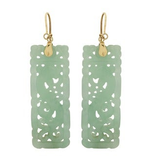 Gems For You 14k Yellow Gold Jade Hook Earrings