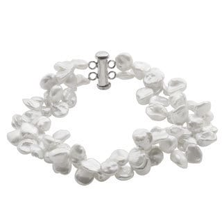 Pearls For You Sterling Silver White Freshwater Keshi Pearl Bracelet (7-8 mm)
