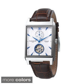 Earnshaw Men's Providence Skeleton Accent Leather Strap Watch
