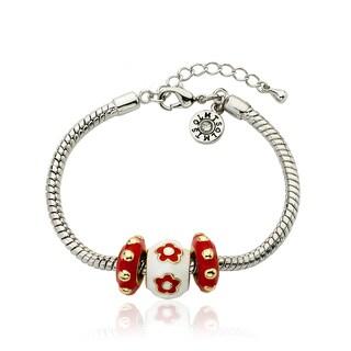 Little Miss Twin Stars Super Star Cutie Red Enamel Children's Bracelet