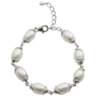 Pearls For You Sterling Silver White Freshwater Pearl Link Bracelet (8.5-9.5 mm)