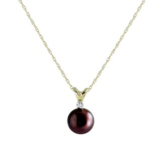 Pearls For You 14k Yellow Gold Dyed Chocolate Freshwater Pearl and Diamond Pendant Necklace (7-7.5 mm)