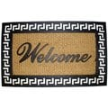 Celebration Greek Key Welcome Rubber/ Coir Outdoor Mat