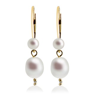 Pearls For You 14k Yellow Gold White Freshwater Pearl Drop Leverback Earrings (7-7.5 mm, 4-5 mm)
