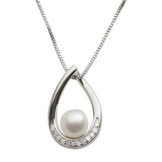 Pearls For You 14k White Gold Sterling Silver Freshwater Pearl and 1/10ct TDW Diamond Necklace (7-7.5 mm) (I2-I3, H-I)