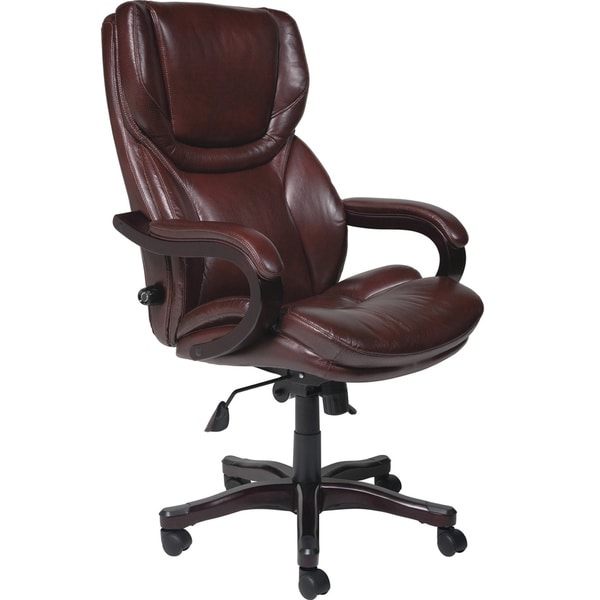 serta executive brown bonded leather big and tall office chair