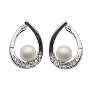 Pearls For You Sterling Silver White Freshwater Pearl and 1/10ct TDW Diamond Earrings (6-6.5 mm) (H-I, I-2)
