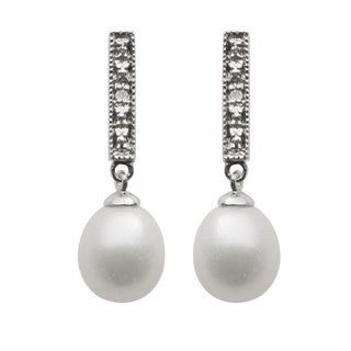 Pearls For You Sterling Silver White Freshwater Drop Pearl and Diamond Dangle Earrings (7.5-9 mm) (H-I, I-3)