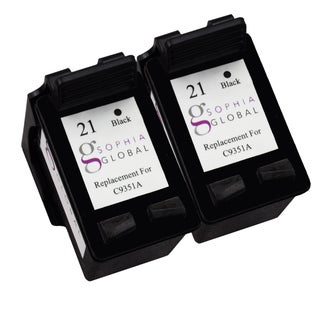 Sophia Global Remanufactured Ink Cartridge Replacement for HP 21 (2 Black)