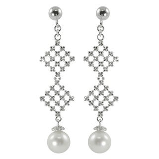 Pearls For You Sterling Silver White Freshwater Pearl Dangle Earrings (8-8.5 mm)