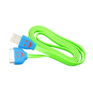 Sophia Global Green LED Smiley Face 30-pin to USB Data Sync Tangle-free Flat Charging Cord