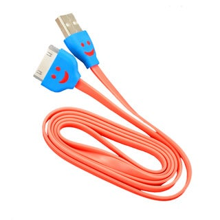 Sophia Global Orange Light-up Happy Face 30-pin to USB Data Sync and Charging Tangle-free Flat Cable