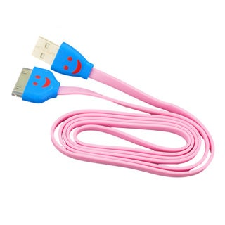 Sophia Global Pink LED Smile Face 30-pin to USB Data Sync and Charging Tangle-free Flat Cord