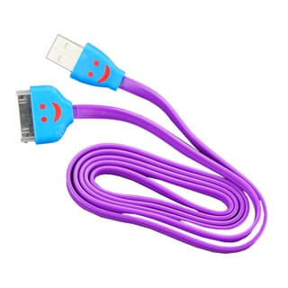 Sophia Global Purple LED Lighted Smile Face 30-pin to USB Charger and Data Syncing Tangle-free Flat Cable