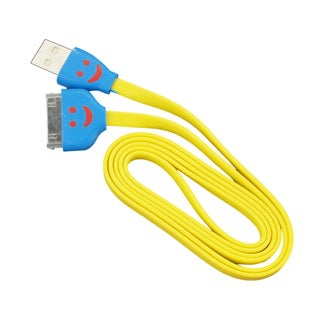 Sophia Global Yellow Light-up Happy Face 30-pin to USB Charger and Data Sync Tangle-free Flat Cord