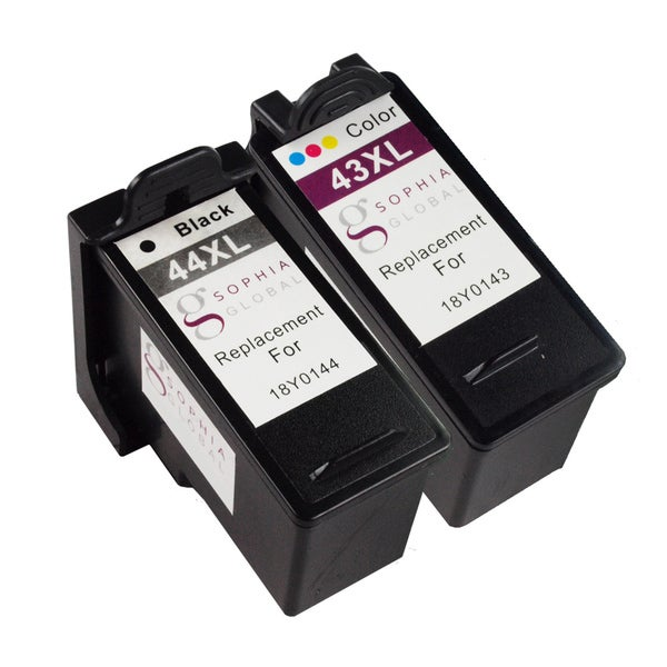Sophia Global Remanufactured Ink Cartridge Replacement for Lexmark 44XL 43XL (1 Black, 1 Color)