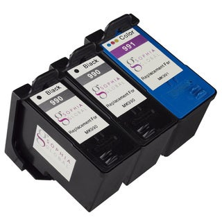 Sophia Global Remanufactured Ink Cartridge Replacement for Dell MK990 and MK991 Series 9 (2 Black, 1 Color)