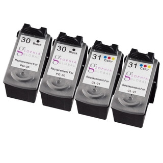 Sophia Global Remanufactured Ink Cartridge Replacement for Canon PG-30 and CL-31 (2 Black, 2 Color)