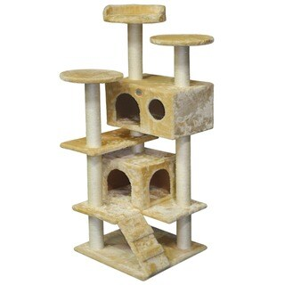 Go Pet Club 53-inch Faux Fur Condo Cat Tree