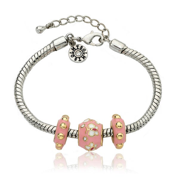 Little Miss Twin Stars Super Star Cutie Pink Enamel Children's Bracelet