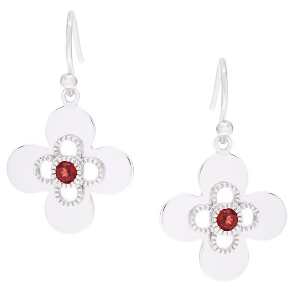 Four Leaf Lucky Charm Garnet Earrings