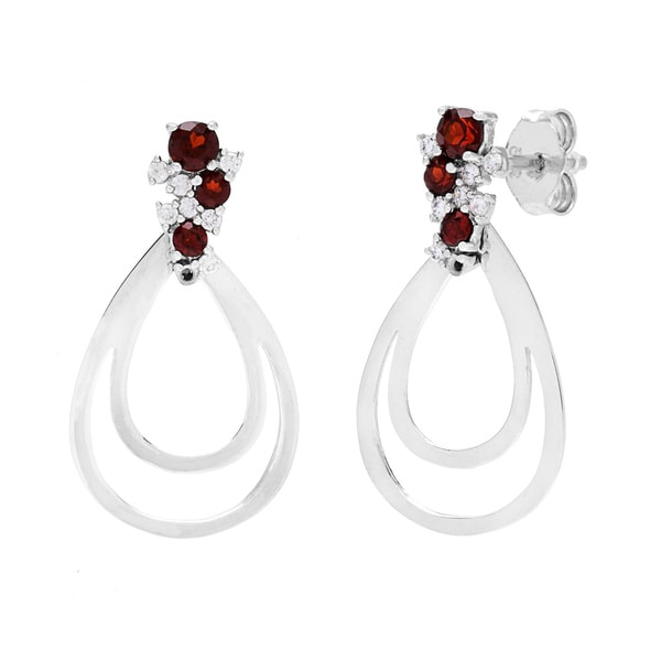 Cresent Moon Gemstone and Cubic Zirconia Earrings