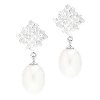Kabella Freshwater Pearl Honey-comb Drop Earrings (8-9 mm)