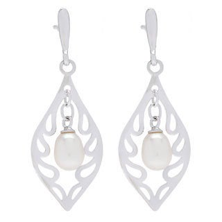 Kabella Sterling Silver Freshwater Pearl Flame Mosaic Dangle Earrings (6-7 mm)