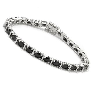 Sterling Silver Oval-cut Black Spinel Bracelet
