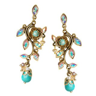 Sweet Romance Turquoise and Crystal Vine Earrings