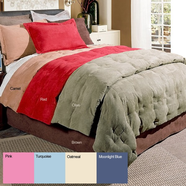 Microsuede 3-Piece Down Fiber Blend Comforter and Sham Set
