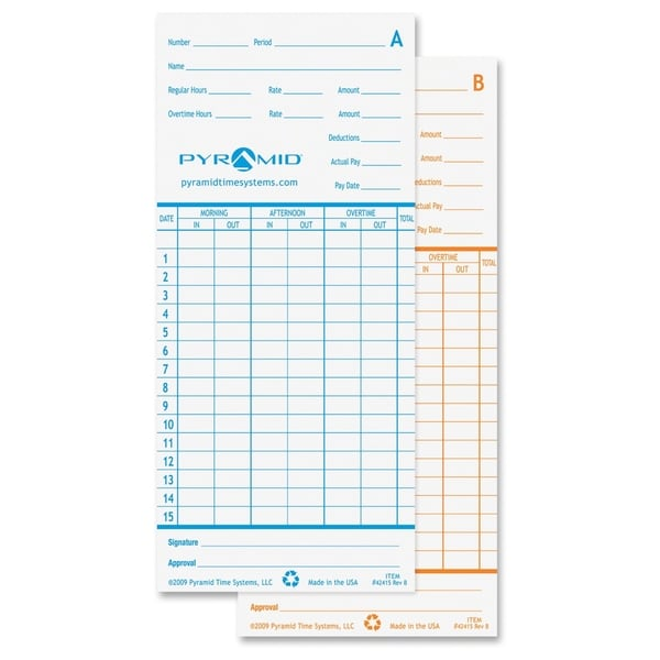 Pyramid Time Card For Models 2600 & 2650