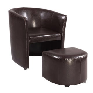 Brown Bonded Leather Club Chair/ Ottoman Set