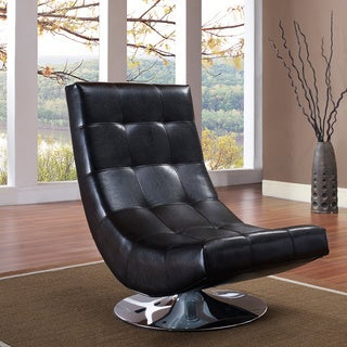 ARMEN LIVING Mario Black Bonded Leather Armless Swivel Club Chair