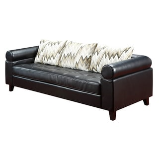 Vasken Black Bonded Leather Sofa