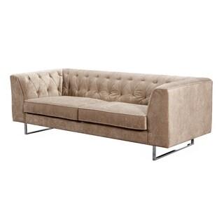 Troika Sand Velvet Tufted Sofa