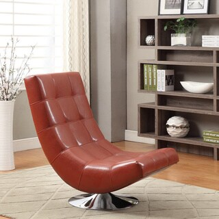 Mario Red Bonded Leather Armless Swivel Club Chair
