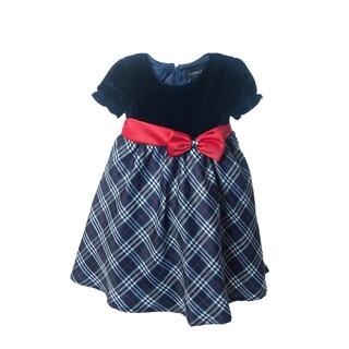 Peanut Buttons Girl's Navy Velvet Top Satin Bow Dress