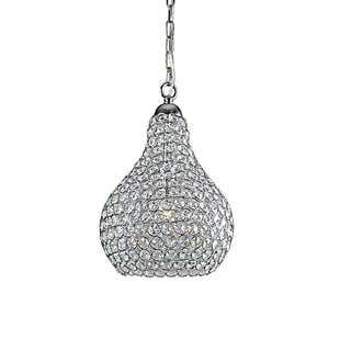 1-light Pear-shaped Chrome/ Crystal Contemporary Chandelier