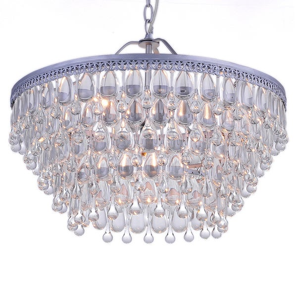 Wesley Crystal 6-light Chandelier with Clear Teardrop Beads