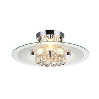Lucia Round Chrome and Crystal Flush Mount 3-light Chandelier