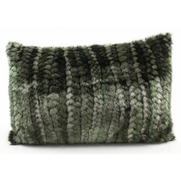 Green Braided Faux Fur 12 x 18-inch Throw Pillow