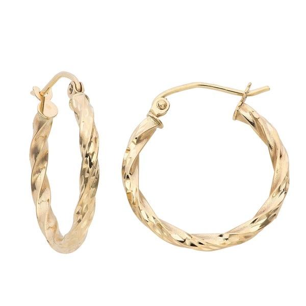 Gioelli 14k Yellow Gold Twisted Hoop Earrings